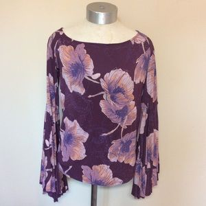 Free People birds of paradise bell sleeve top